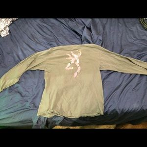 GrayLong Sleeve Browning Tshirt Pink W/ Camo Decal
